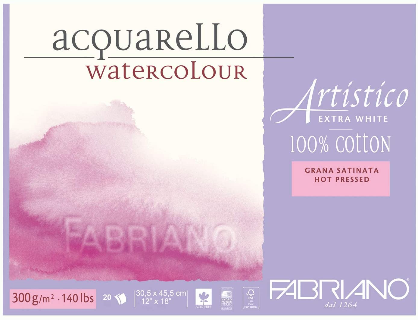 Fabriano Artistico 140 lb. Hot Press 20 Sheet Block 12x18""