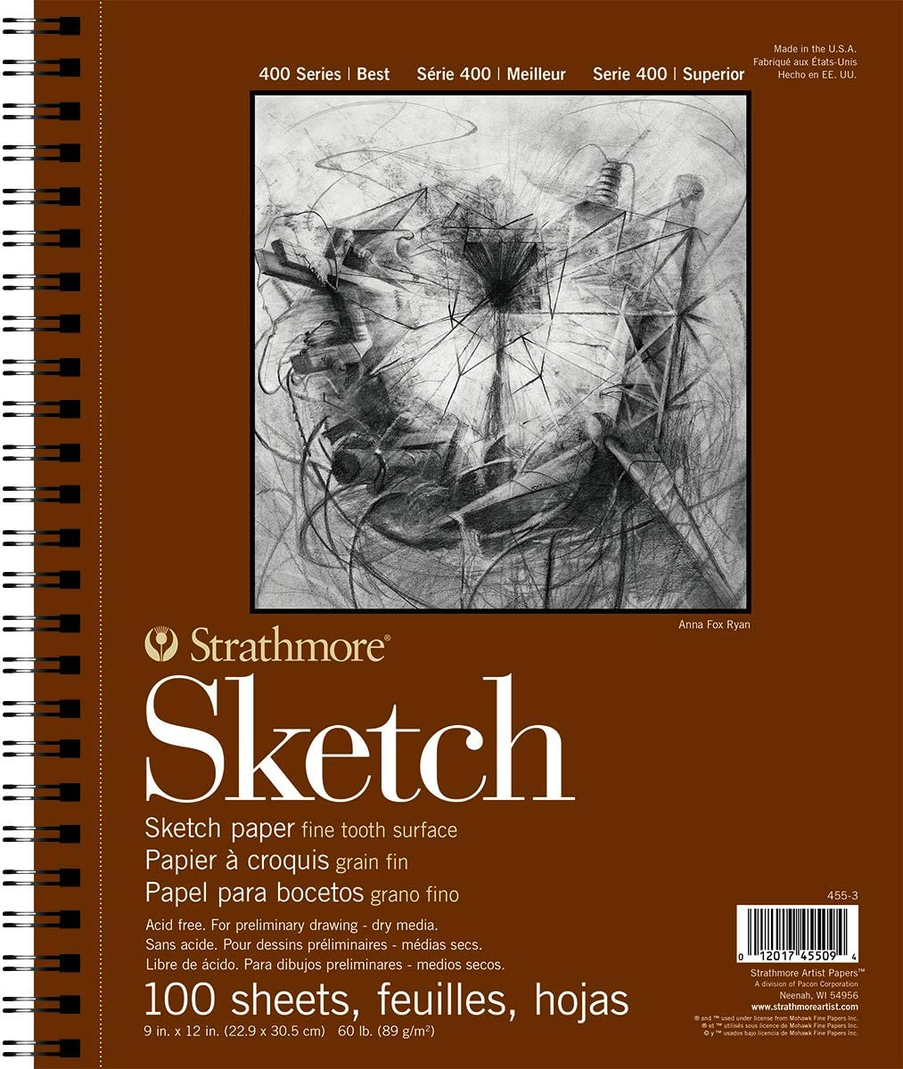 "Strathmore 455-3 400 Series Sketch Pad, 9""x12"" Wire Bound, 100 Sheets"